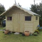14 10x8 Barrelboard Shed with 1ft overhang on roof