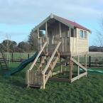 01 10x6 Tongue and Groove Treehouse 5ft Stand with slide