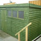 05 12x6 Rustic Shed Flat Roof Green