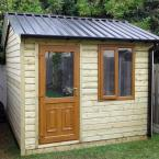 40 10x8 Cottage Style T&G Tan Shed PVC Door & Window Black Box Profile Roof