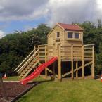 07 6x8 Tongue and Groove WendyHouse with red felt roof and slide
